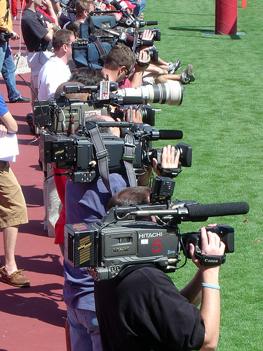 Flickr: OSU Spring Game 2006 Media Lineup by Chris Metcalf