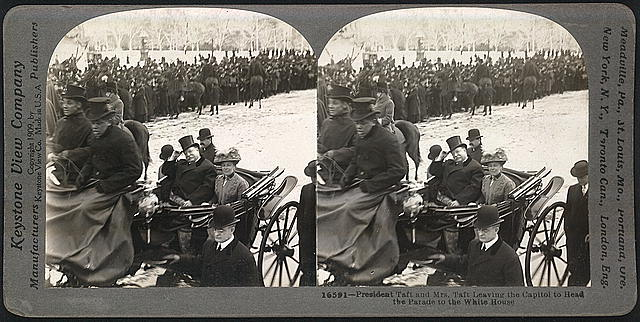 President Taft and his wife lead the inaugural parade, 1909 (Library of Congress: Prints and Photographs Division)
