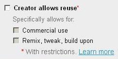 Creator permits reuse - Yahoo image search