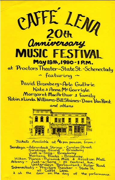 Caffe Lena Flyer 20th Anniversary Music Festival